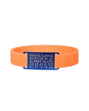 BRACELET  D'IDENTITE MEDICALE ID-VIE BLEU-ORANGE HAPPY