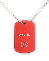 PENDENTIF D'IDENTIFICATION MEDICALE ID-VIE COLOR TAG ROUGE