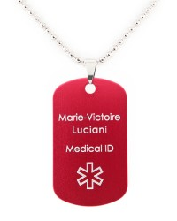 PENDENTIF D'IDENTIFICATION MEDICALE ID-VIE SPORT TAG ROUGE